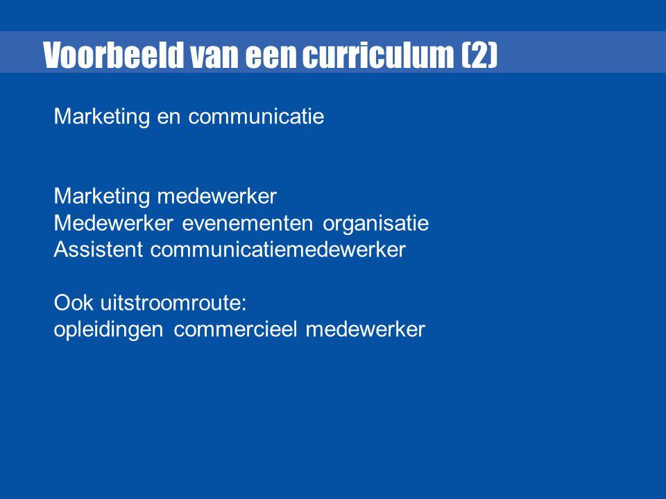 Voorbeeld van een curriculum (2) Marketing en communicatie Marketing medewerker Medewerker evenementen organisatie Assistent communicatiemedewerker Oo