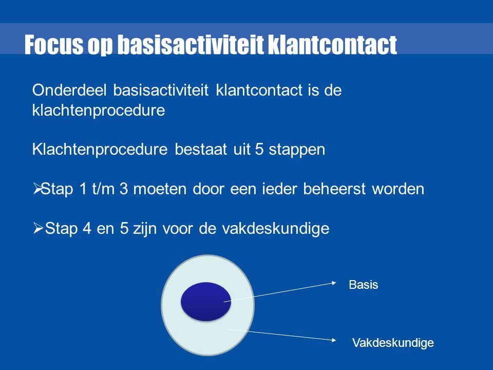 Focus op basisactiviteit klantcontact Onderdeel basisactiviteit klantcontact is de klachtenprocedure Klachtenprocedure bestaat uit 5 stappen  Stap 1