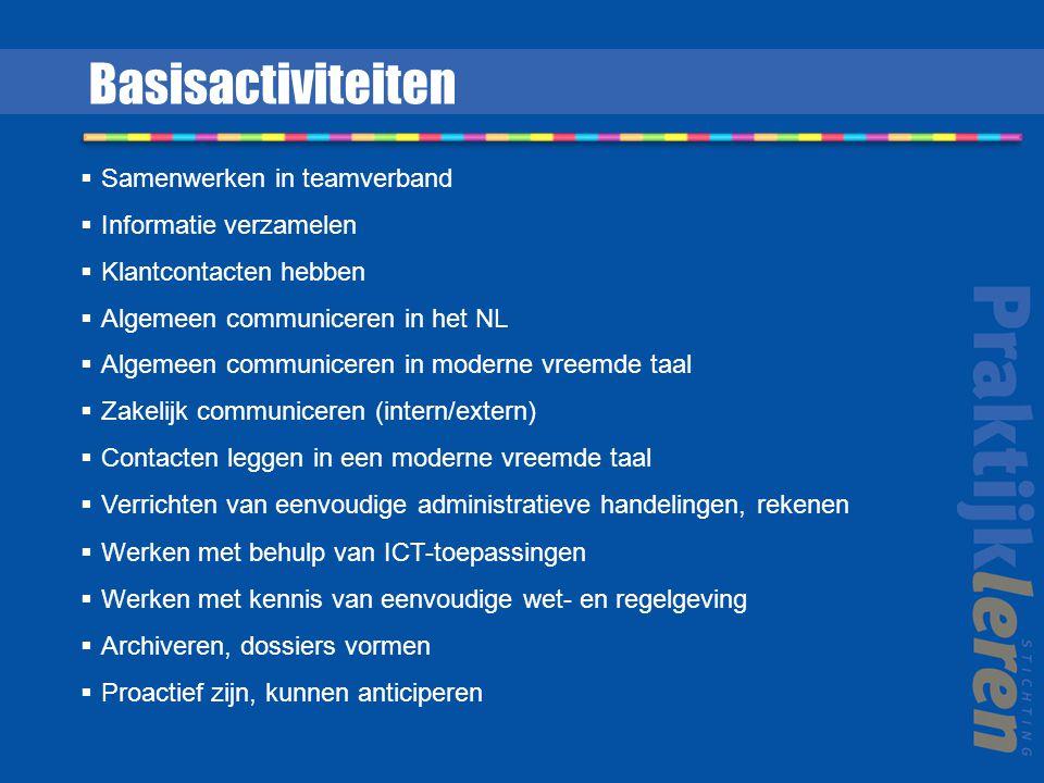  Samenwerken in teamverband  Informatie verzamelen  Klantcontacten hebben  Algemeen communiceren in het NL  Algemeen communiceren in moderne vree