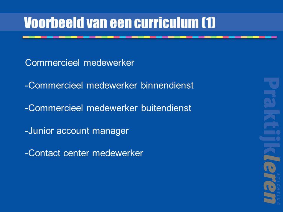 Voorbeeld van een curriculum (1) Commercieel medewerker -Commercieel medewerker binnendienst -Commercieel medewerker buitendienst -Junior account mana