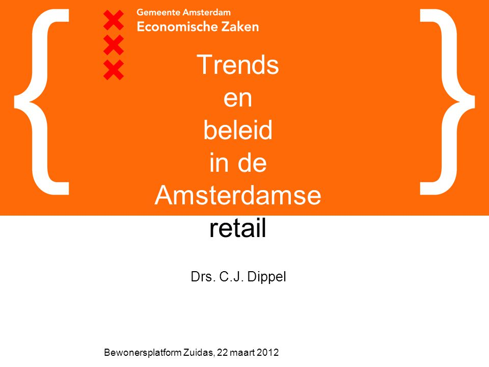 Bewonersplatform Zuidas, 22 maart 2012 Trends en beleid in de Amsterdamse retail Drs. C.J. Dippel