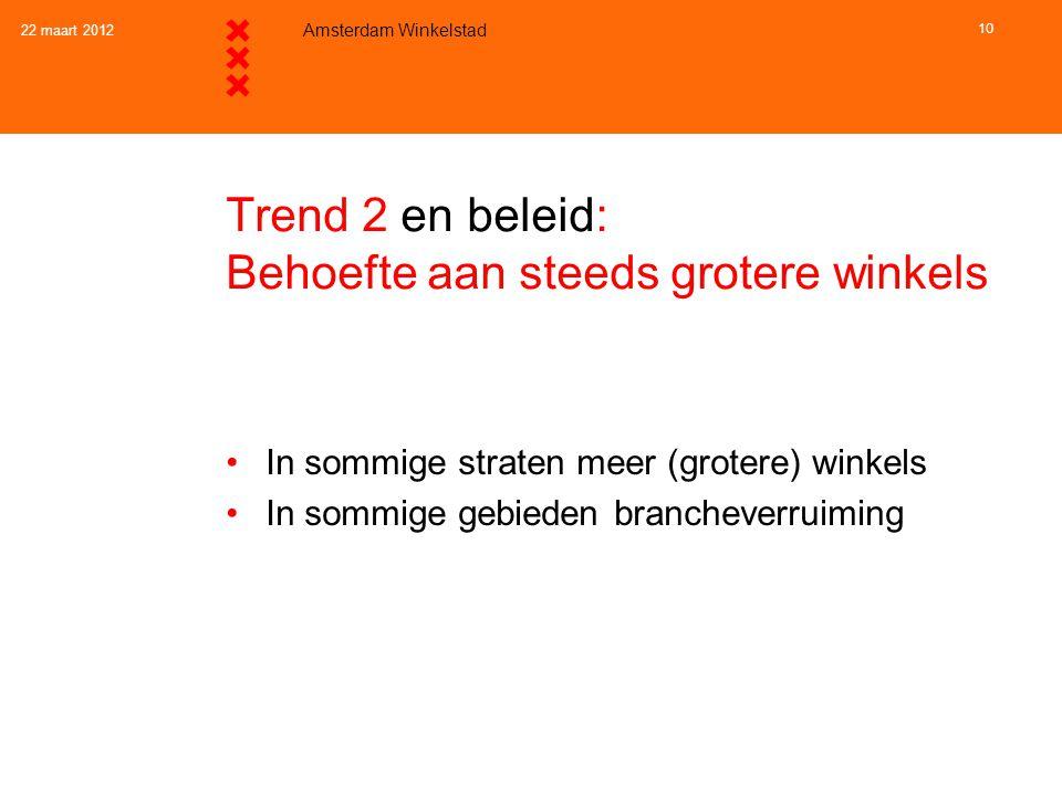 22 maart 2012 Amsterdam Winkelstad 10 Trend 2 en beleid: Behoefte aan steeds grotere winkels •In sommige straten meer (grotere) winkels •In sommige ge