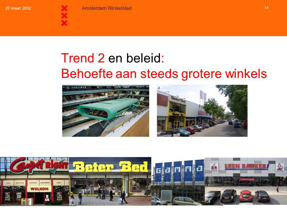 22 maart 2012 Amsterdam Winkelstad 14 Trend 2 en beleid: Behoefte aan steeds grotere winkels