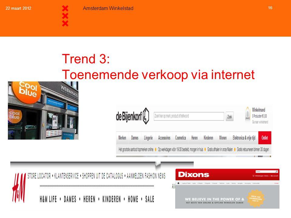 22 maart 2012 Amsterdam Winkelstad 16 Trend 3: Toenemende verkoop via internet