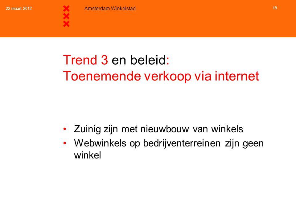 22 maart 2012 Amsterdam Winkelstad 18 Trend 3 en beleid: Toenemende verkoop via internet •Zuinig zijn met nieuwbouw van winkels •Webwinkels op bedrijv