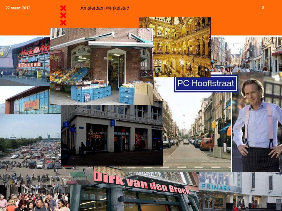 22 maart 2012 Amsterdam Winkelstad 6 Trend 1: Behoefte aan verschillende winkelgebiedkwaliteiten