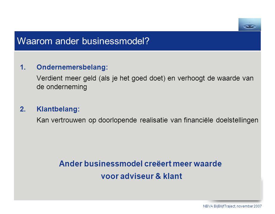1.Ondernemersbelang: Verdient meer geld (als je het goed doet) en verhoogt de waarde van de onderneming 2.Klantbelang: Kan vertrouwen op doorlopende realisatie van financiële doelstellingen Ander businessmodel creëert meer waarde voor adviseur & klant Waarom ander businessmodel.
