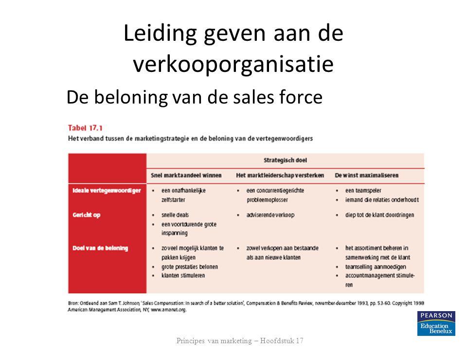 Leiding geven aan de verkooporganisatie De beloning van de sales force Principes van marketing – Hoofdstuk 17