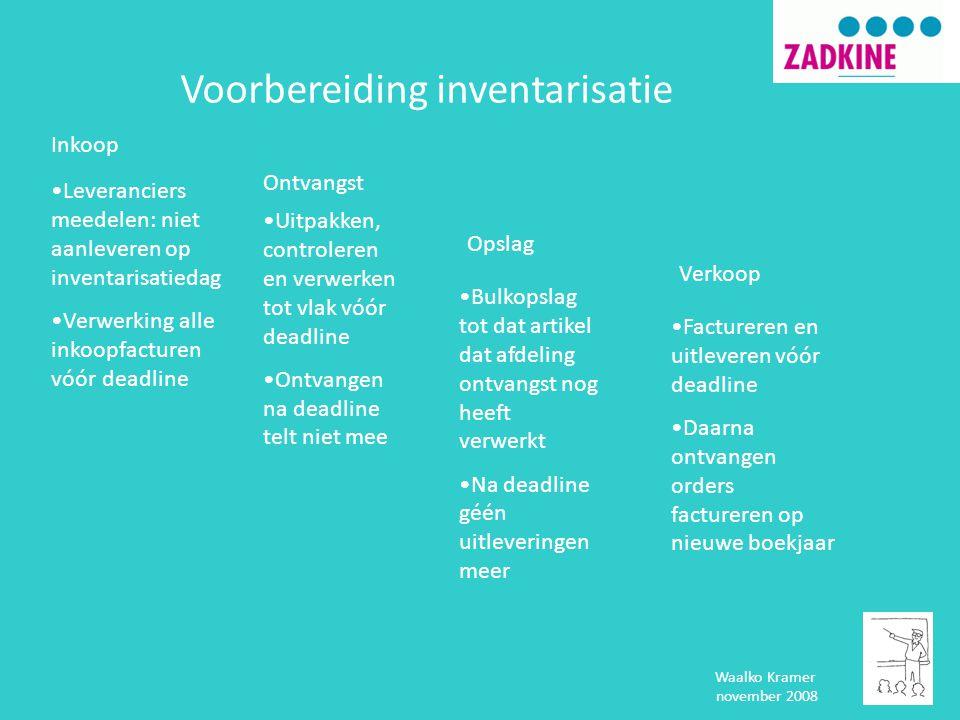 Waalko Kramer november 2008 Voorbereiding inventarisatie Inkoop Ontvangst Opslag Verkoop •Leveranciers meedelen: niet aanleveren op inventarisatiedag