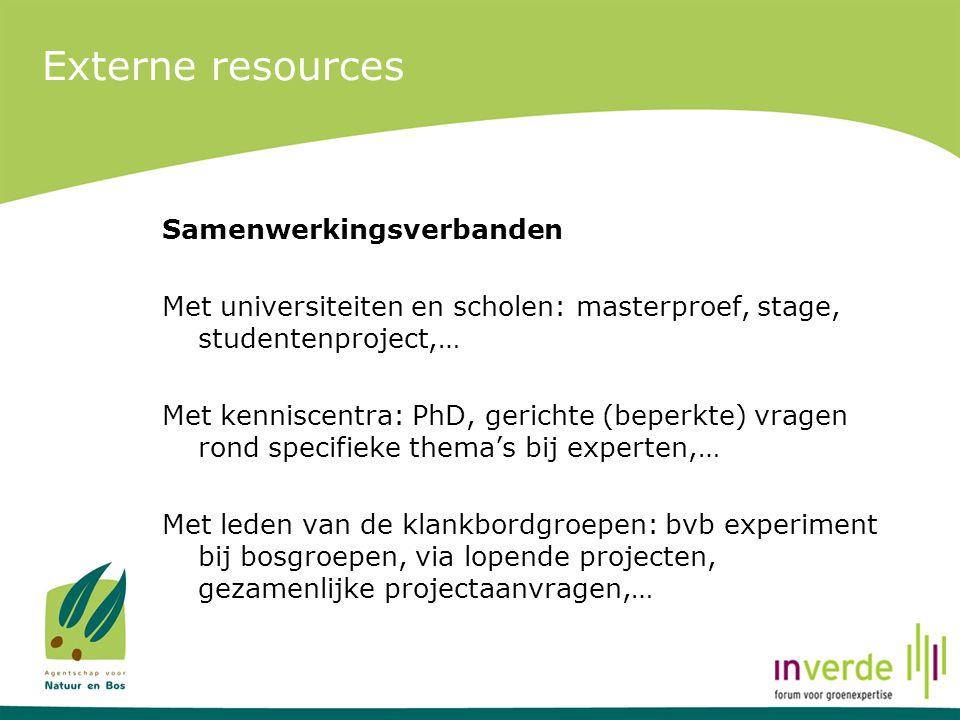 Externe resources Samenwerkingsverbanden Met universiteiten en scholen: masterproef, stage, studentenproject,… Met kenniscentra: PhD, gerichte (beperk