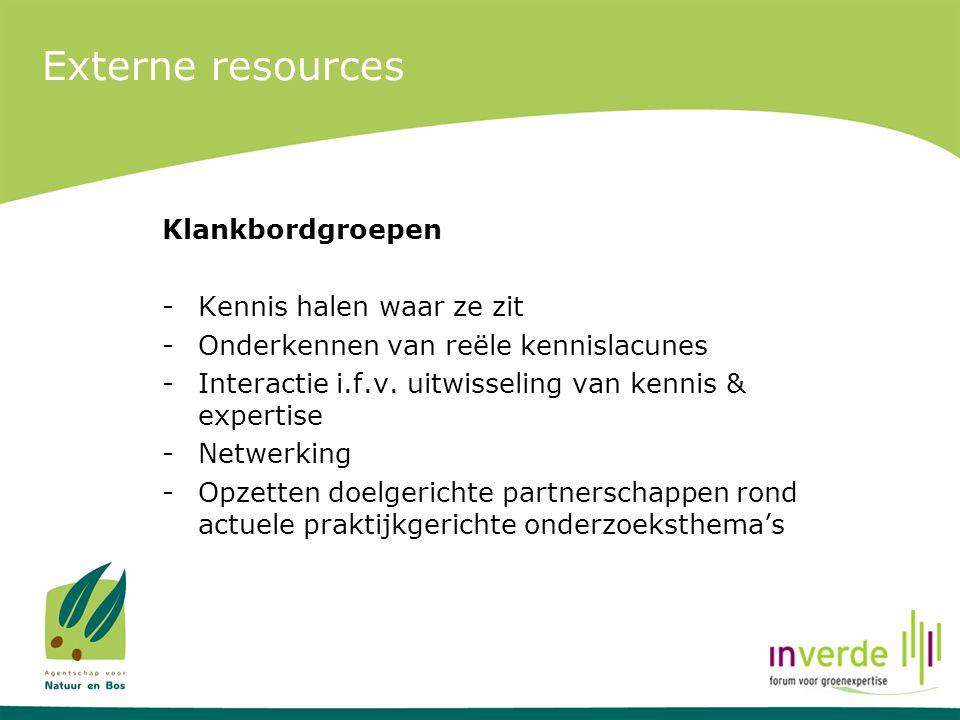 Externe resources Klankbordgroepen -Kennis halen waar ze zit -Onderkennen van reële kennislacunes -Interactie i.f.v. uitwisseling van kennis & experti