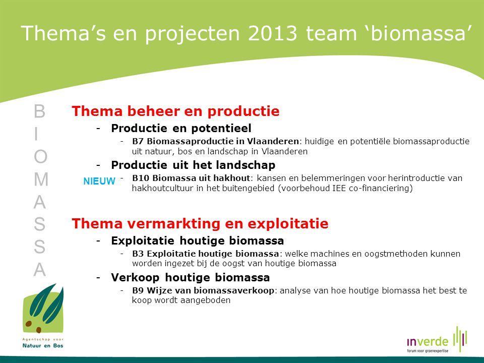 Thema's en projecten 2013 team 'biomassa' Thema beheer en productie -Productie en potentieel -B7 Biomassaproductie in Vlaanderen: huidige en potentiël