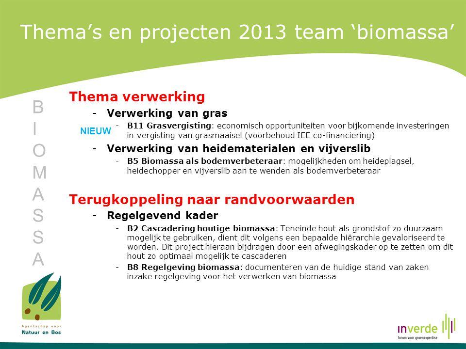 Thema's en projecten 2013 team 'biomassa' Thema verwerking -Verwerking van gras -B11 Grasvergisting: economisch opportuniteiten voor bijkomende invest