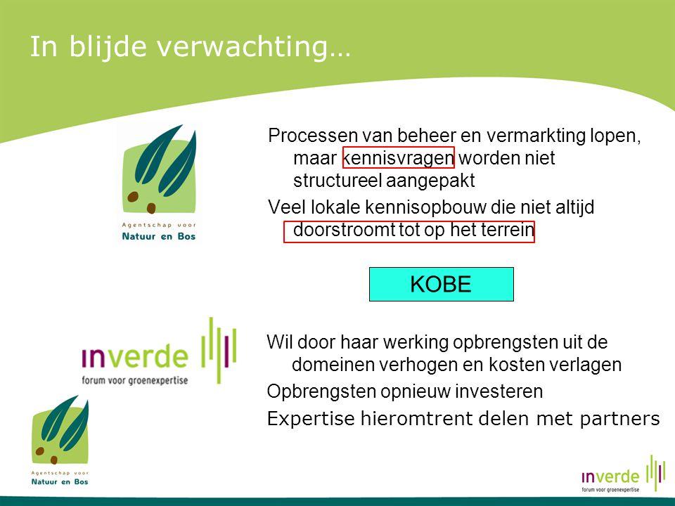 Onze visie De visie van KOBE: Het project KOBE streeft naar het optimaliseren van benefits uit ecosysteemdiensten in de Vlaamse bos-, natuur- en groengebieden door middel van kennisondersteuning omtrent aangepast beheer en efficiënte vermarkting.
