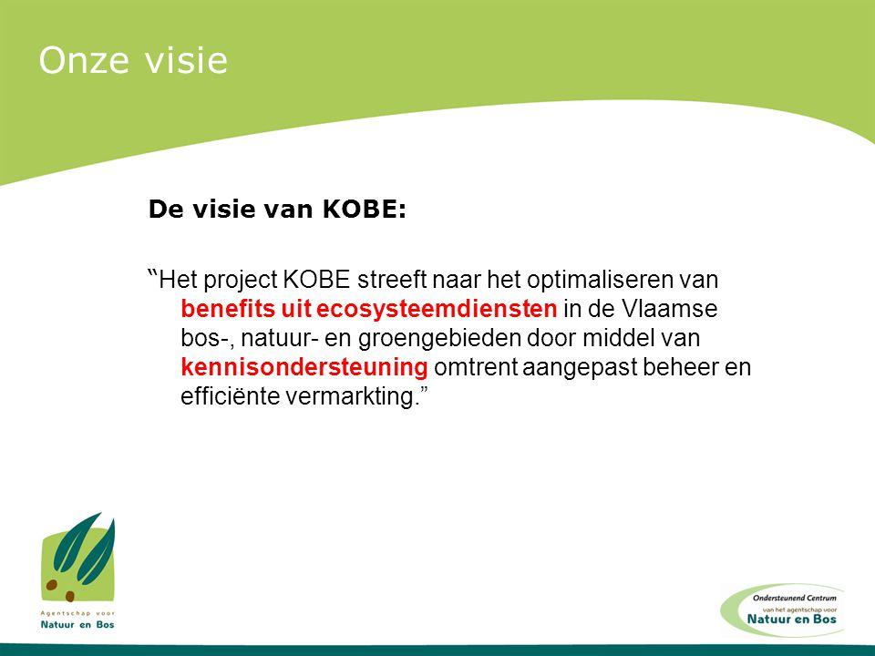 """Onze visie De visie van KOBE: """" Het project KOBE streeft naar het optimaliseren van benefits uit ecosysteemdiensten in de Vlaamse bos-, natuur- en gro"""