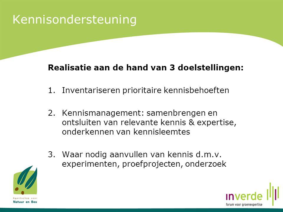 Kennisondersteuning Realisatie aan de hand van 3 doelstellingen: 1.Inventariseren prioritaire kennisbehoeften 2.Kennismanagement: samenbrengen en onts