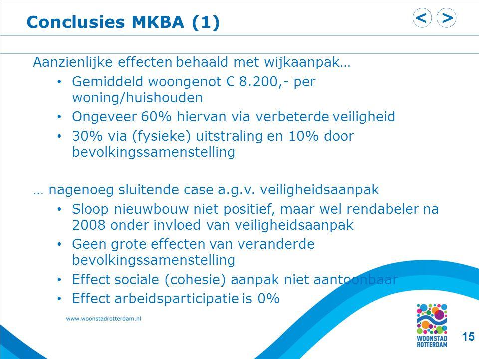 Conclusies MKBA (1) 15 Aanzienlijke effecten behaald met wijkaanpak… • Gemiddeld woongenot € 8.200,- per woning/huishouden • Ongeveer 60% hiervan via verbeterde veiligheid • 30% via (fysieke) uitstraling en 10% door bevolkingssamenstelling … nagenoeg sluitende case a.g.v.