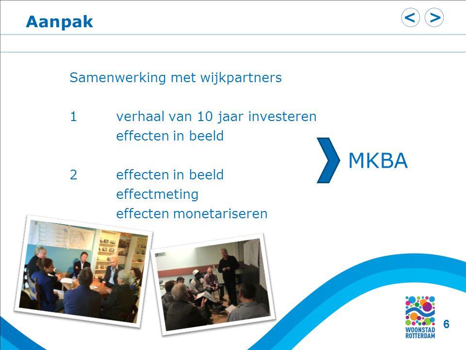 Samenwerking met wijkpartners 1verhaal van 10 jaar investeren effecten in beeld 2effecten in beeld effectmeting effecten monetariseren MKBA 6 Aanpak