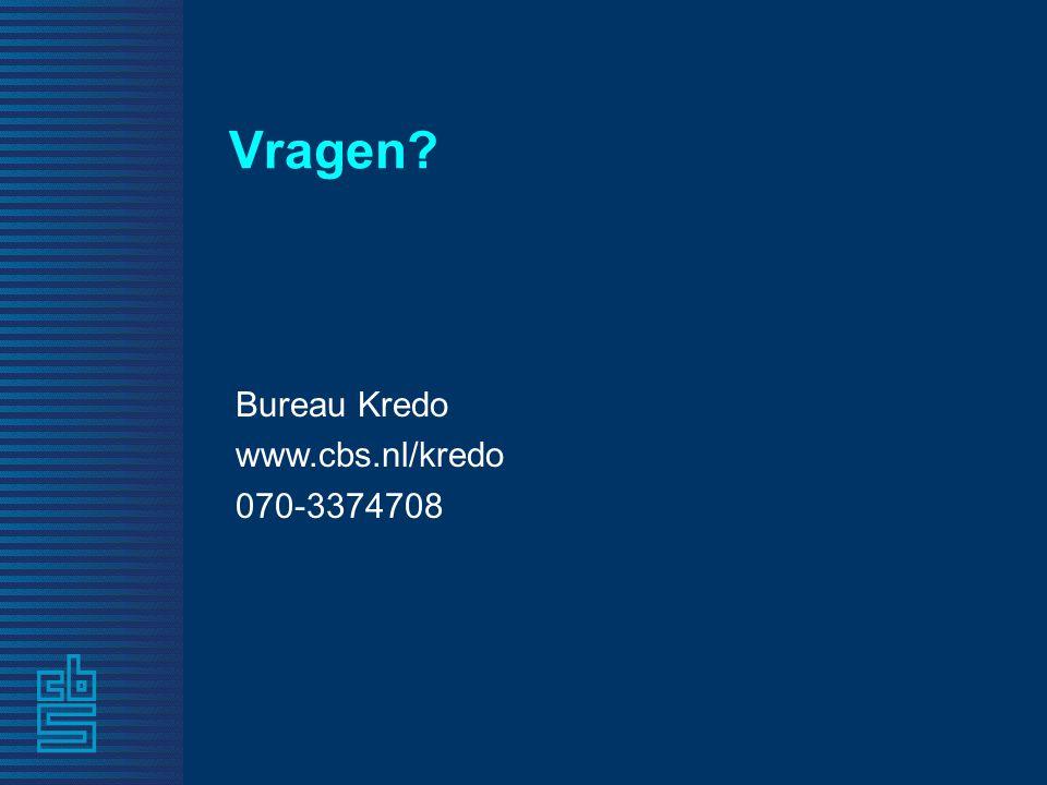 Vragen? Bureau Kredo www.cbs.nl/kredo 070-3374708