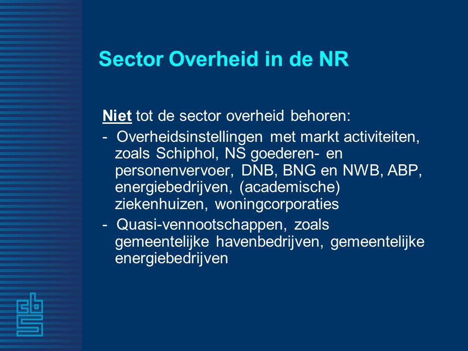 Sector Overheid in de NR Niet tot de sector overheid behoren: - Overheidsinstellingen met markt activiteiten, zoals Schiphol, NS goederen- en personenvervoer, DNB, BNG en NWB, ABP, energiebedrijven, (academische) ziekenhuizen, woningcorporaties - Quasi-vennootschappen, zoals gemeentelijke havenbedrijven, gemeentelijke energiebedrijven