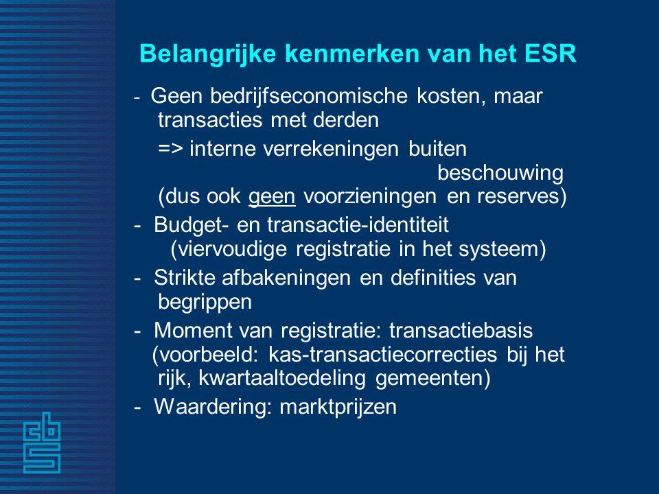 Belangrijke kenmerken van het ESR - Geen bedrijfseconomische kosten, maar transacties met derden => interne verrekeningen buiten beschouwing (dus ook geen voorzieningen en reserves) - Budget- en transactie-identiteit (viervoudige registratie in het systeem) - Strikte afbakeningen en definities van begrippen - Moment van registratie: transactiebasis (voorbeeld: kas-transactiecorrecties bij het rijk, kwartaaltoedeling gemeenten) - Waardering: marktprijzen