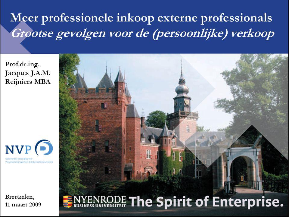 Meer professionele inkoop externe professionals Grootse gevolgen voor de (persoonlijke) verkoop Prof.dr.ing. Jacques J.A.M. Reijniers MBA Breukelen, 1