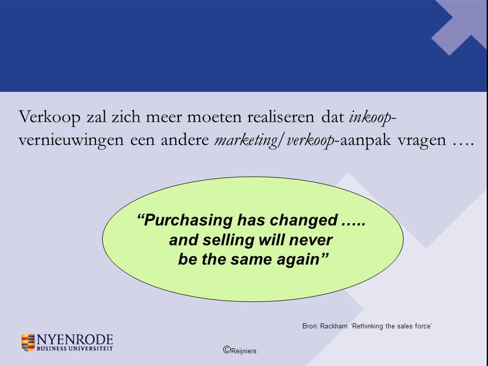 """© Reijniers Verkoop zal zich meer moeten realiseren dat inkoop- vernieuwingen een andere marketing/verkoop-aanpak vragen …. """"Purchasing has changed …."""