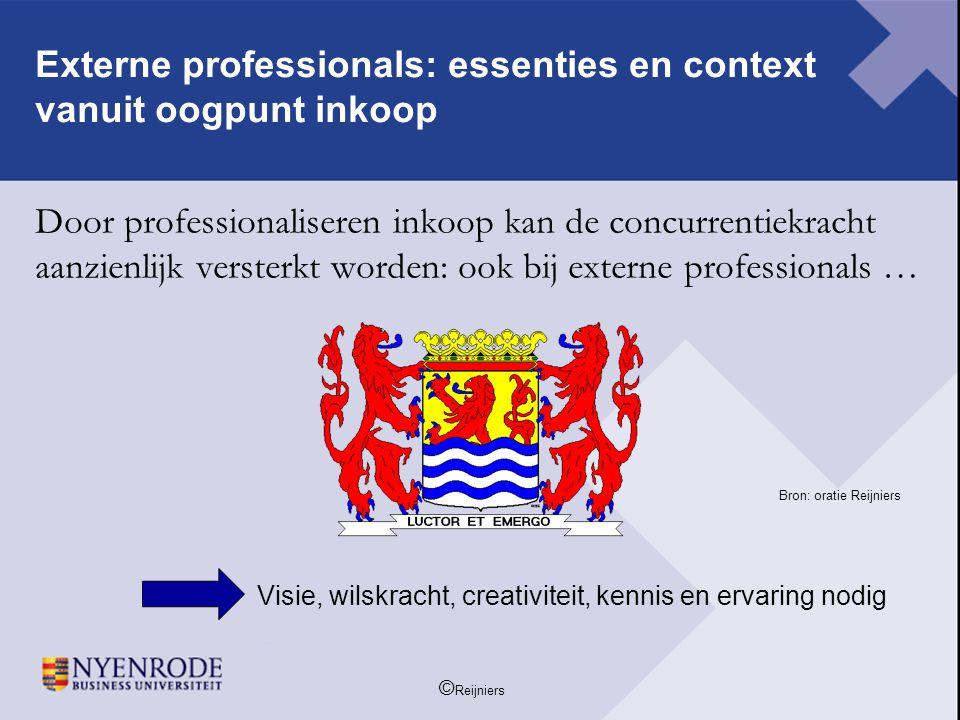 © Reijniers Door professionaliseren inkoop kan de concurrentiekracht aanzienlijk versterkt worden: ook bij externe professionals … Bron: oratie Reijni