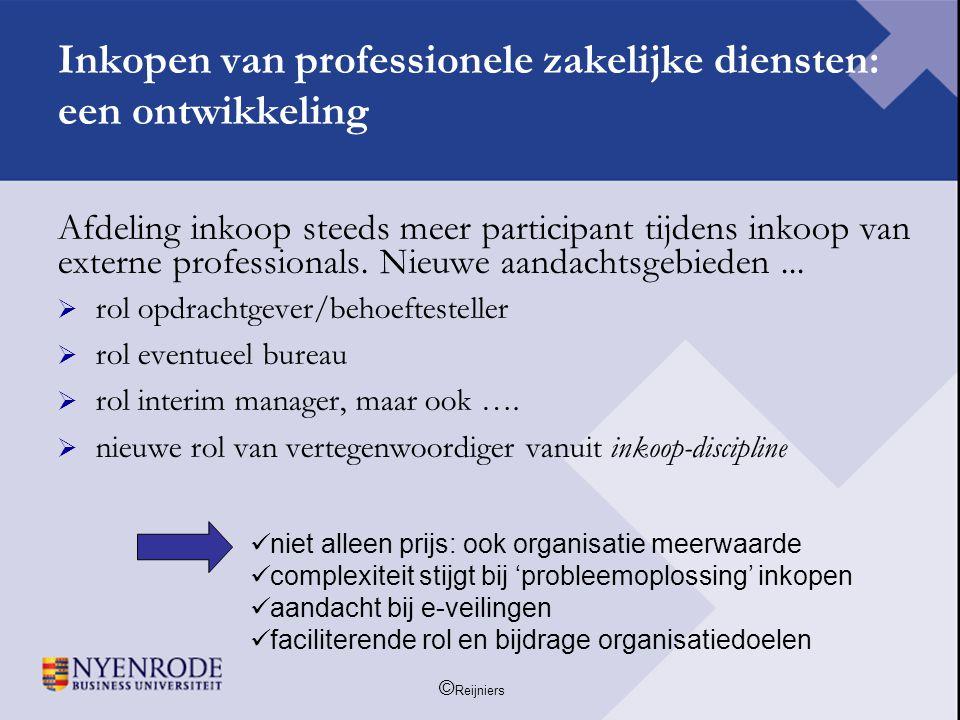 © Reijniers Een succesbepalende voorwaarde is het inzicht in de inkoopportfolio: de plaats van 'welke' professional 'waar'...