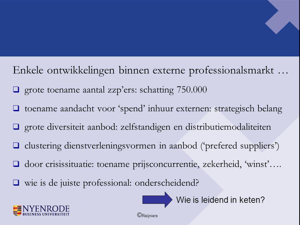© Reijniers Enkele ontwikkelingen binnen externe professionalsmarkt …  grote toename aantal zzp'ers: schatting 750.000  toename aandacht voor 'spend
