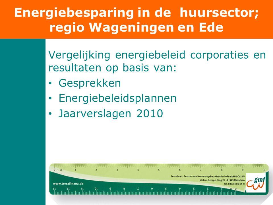 Vergelijking energiebeleid corporaties en resultaten op basis van: • Gesprekken • Energiebeleidsplannen • Jaarverslagen 2010 Energiebesparing in de huursector; regio Wageningen en Ede