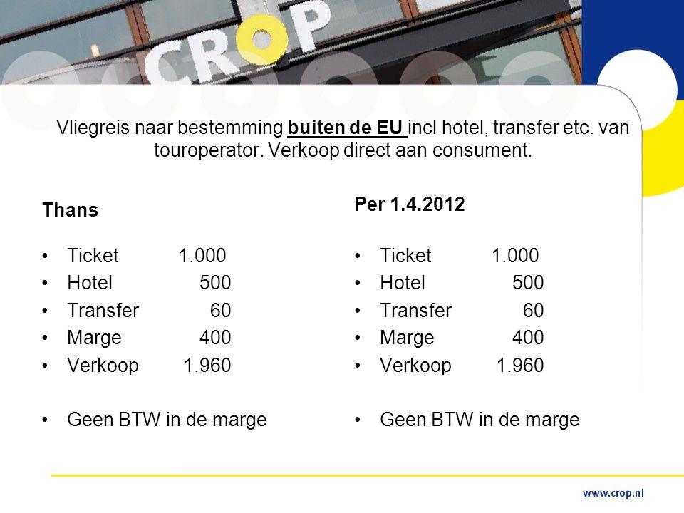 Vliegreis naar bestemming buiten de EU incl hotel, transfer etc.