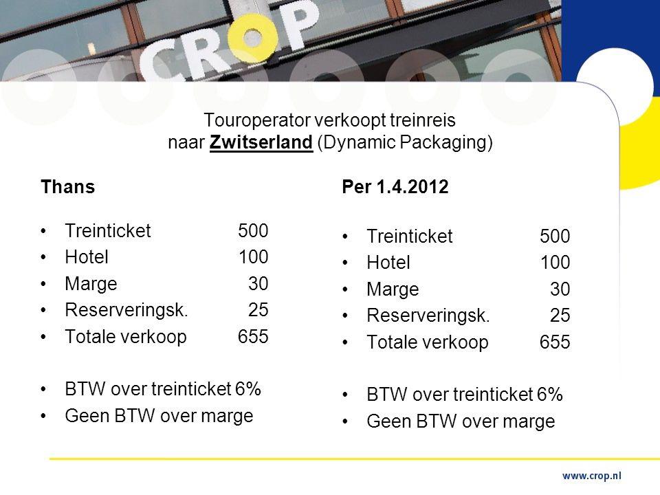Touroperator verkoopt treinreis naar Zwitserland (Dynamic Packaging) Thans •Treinticket500 •Hotel100 •Marge 30 •Reserveringsk.