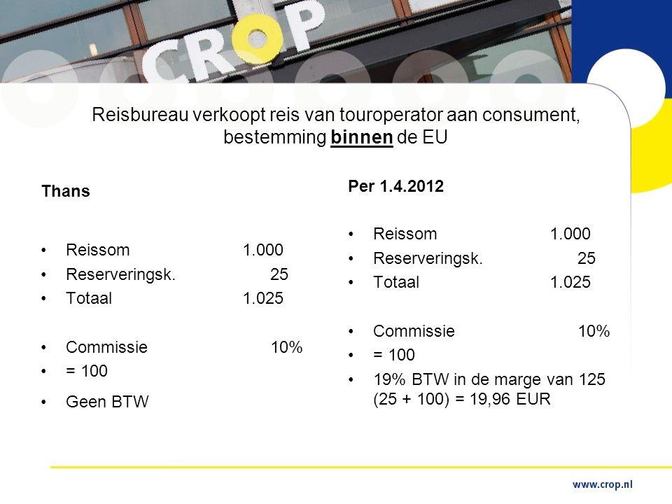 Reisbureau verkoopt reis van touroperator aan consument, bestemming binnen de EU Thans •Reissom1.000 •Reserveringsk.