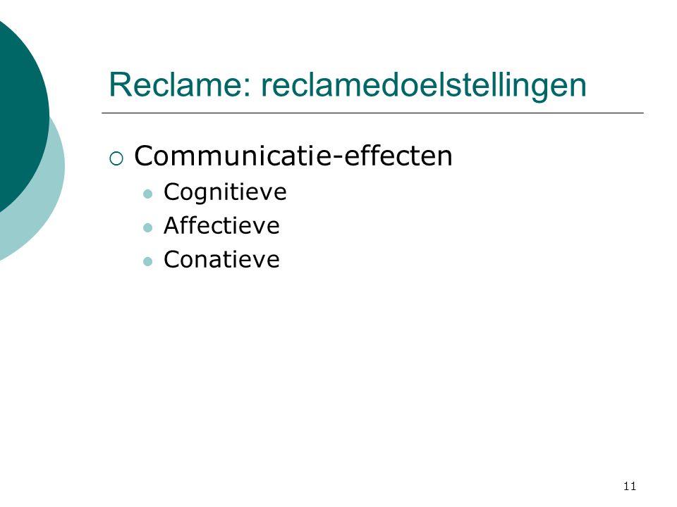 11 Reclame: reclamedoelstellingen  Communicatie-effecten  Cognitieve  Affectieve  Conatieve