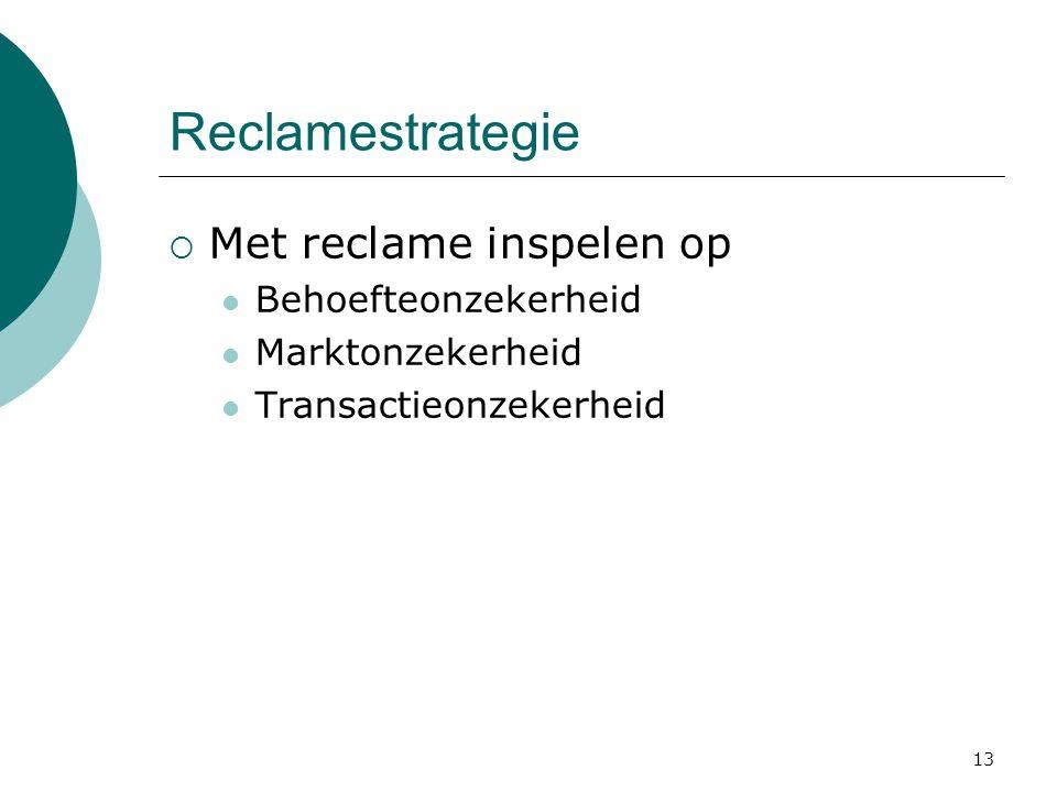 13 Reclamestrategie  Met reclame inspelen op  Behoefteonzekerheid  Marktonzekerheid  Transactieonzekerheid