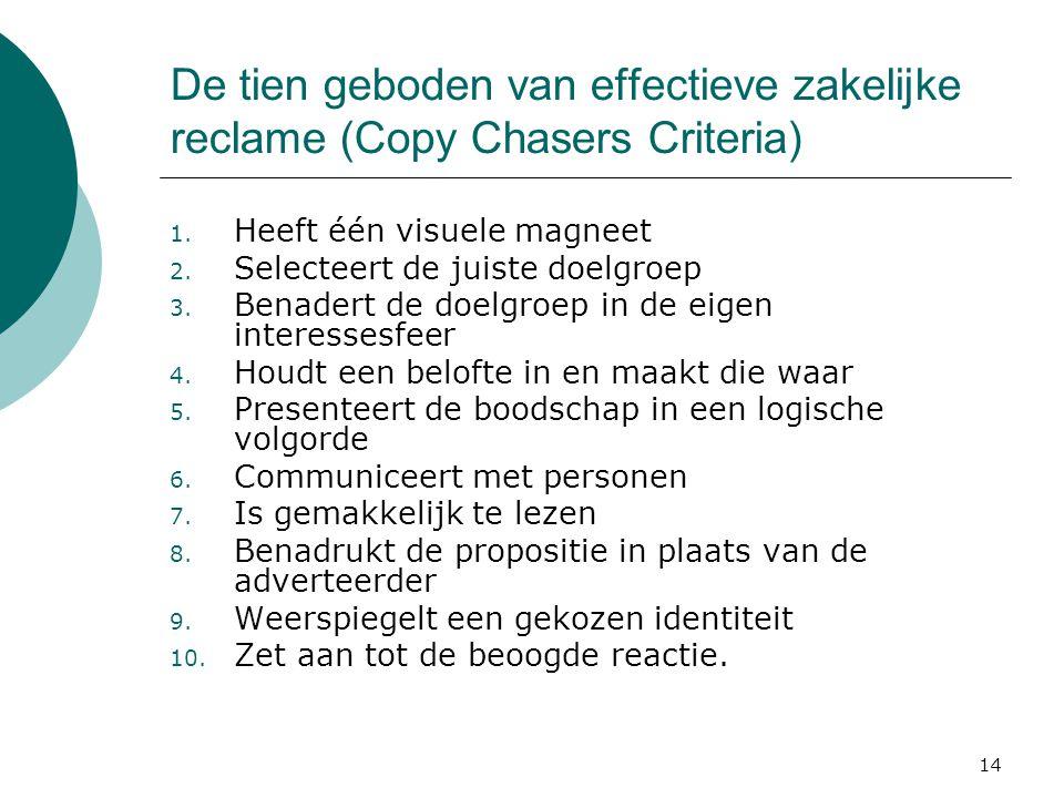 14 De tien geboden van effectieve zakelijke reclame (Copy Chasers Criteria) 1. Heeft één visuele magneet 2. Selecteert de juiste doelgroep 3. Benadert