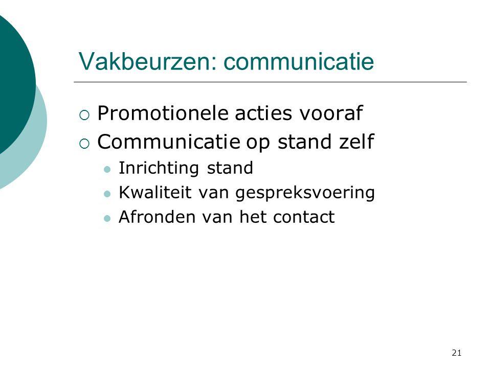 21 Vakbeurzen: communicatie  Promotionele acties vooraf  Communicatie op stand zelf  Inrichting stand  Kwaliteit van gespreksvoering  Afronden va