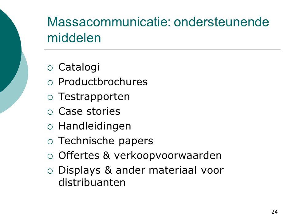 24 Massacommunicatie: ondersteunende middelen  Catalogi  Productbrochures  Testrapporten  Case stories  Handleidingen  Technische papers  Offer