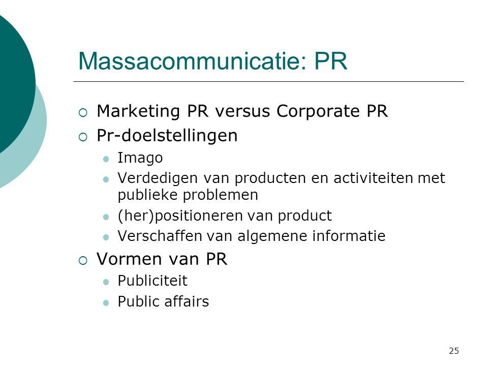 25 Massacommunicatie: PR  Marketing PR versus Corporate PR  Pr-doelstellingen  Imago  Verdedigen van producten en activiteiten met publieke proble