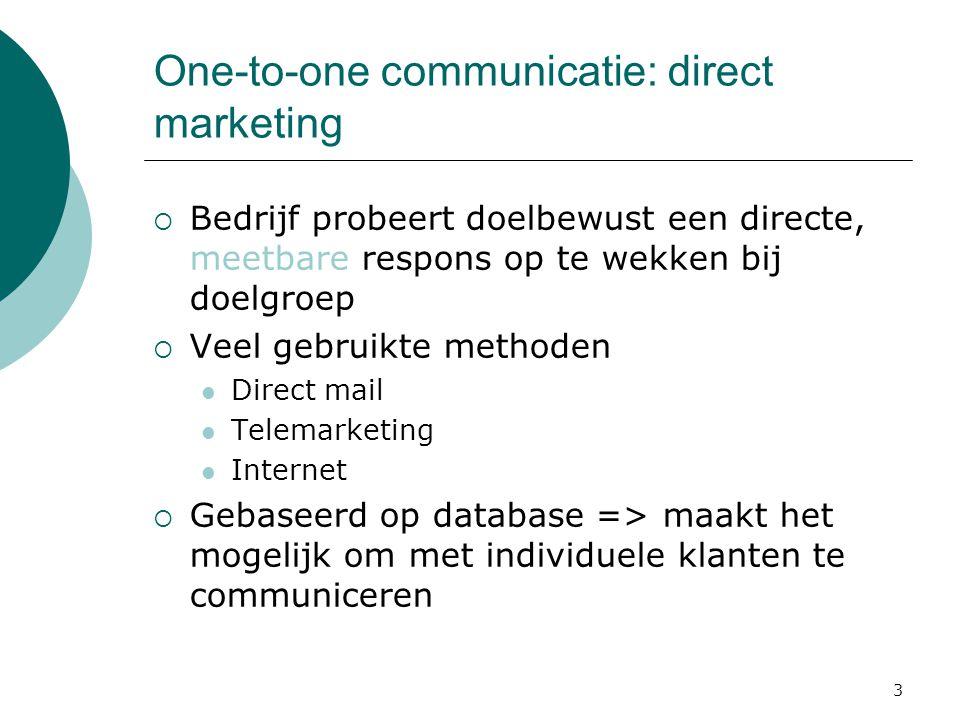 3 One-to-one communicatie: direct marketing  Bedrijf probeert doelbewust een directe, meetbare respons op te wekken bij doelgroep  Veel gebruikte me