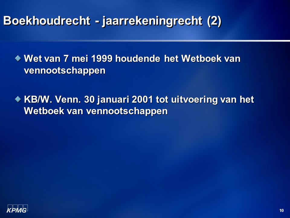 10 Boekhoudrecht - jaarrekeningrecht (2) Wet van 7 mei 1999 houdende het Wetboek van vennootschappen KB/W. Venn. 30 januari 2001 tot uitvoering van he