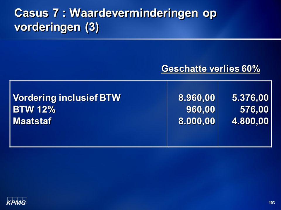 103 Casus 7 : Waardeverminderingen op vorderingen (3) Geschatte verlies 60% Geschatte verlies 60% Vordering inclusief BTW BTW 12% Maatstaf8.960,00960,