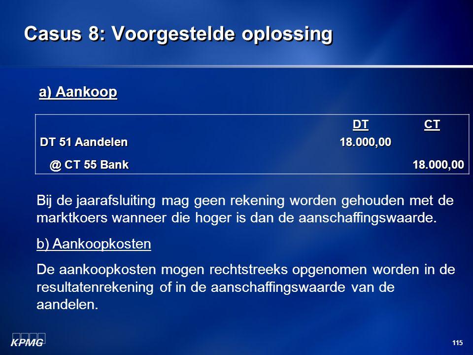 115 Casus 8: Voorgestelde oplossing a) Aankoop DT 51 Aandelen DT18.000,00CT @ CT 55 Bank @ CT 55 Bank18.000,00 Bij de jaarafsluiting mag geen rekening