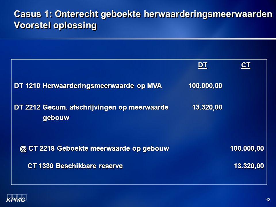 12 Casus 1: Onterecht geboekte herwaarderingsmeerwaarden Voorstel oplossing DT 1210 Herwaarderingsmeerwaarde op MVA DT100.000,00CT DT 2212 Gecum. afsc