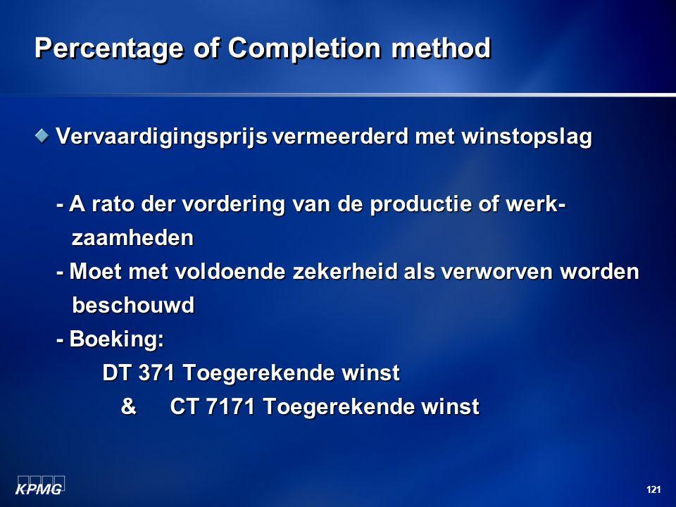 121 Percentage of Completion method Vervaardigingsprijs vermeerderd met winstopslag - A rato der vordering van de productie of werk- zaamheden zaamhed