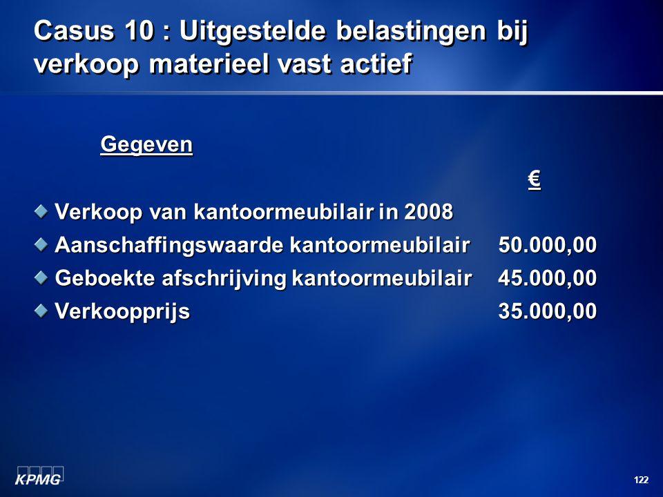 122 Casus 10 : Uitgestelde belastingen bij verkoop materieel vast actief Gegeven € Verkoop van kantoormeubilair in 2008 Aanschaffingswaarde kantoormeu