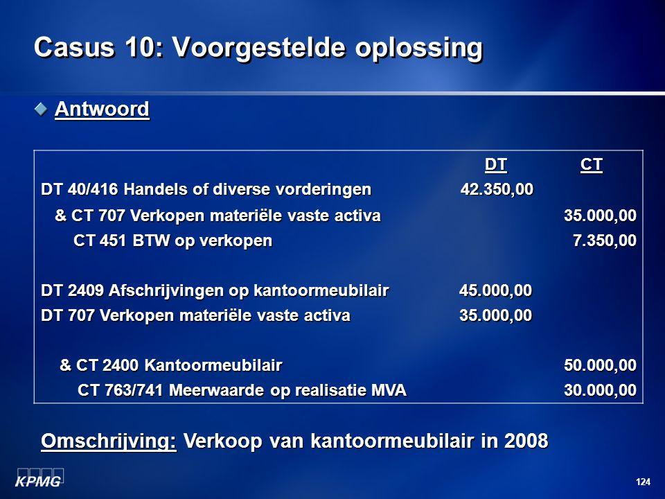 124 Casus 10: Voorgestelde oplossing Antwoord DT 40/416 Handels of diverse vorderingen DT42.350,00CT & CT 707 Verkopen materiële vaste activa & CT 707