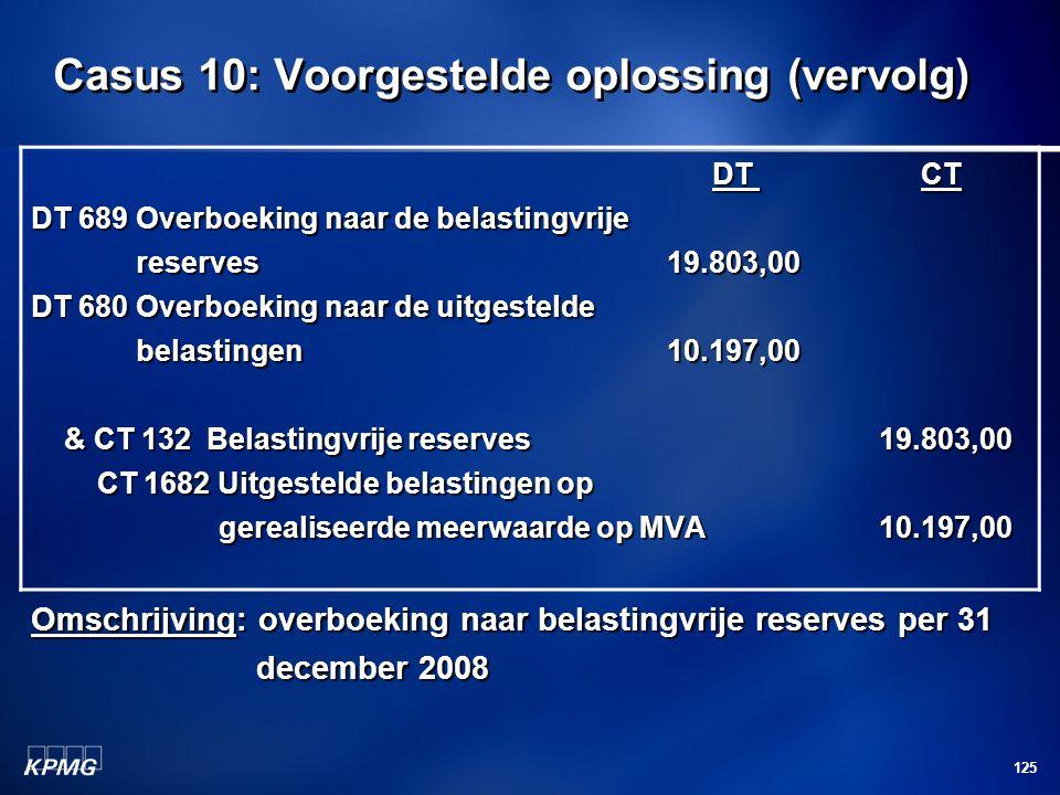 125 Casus 10: Voorgestelde oplossing (vervolg) DT CT DT CT DT 689 Overboeking naar de belastingvrije reserves19.803,00 reserves19.803,00 DT 680 Overbo