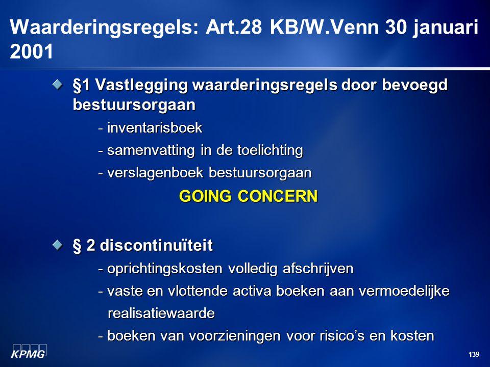 139 Waarderingsregels: Art.28 KB/W.Venn 30 januari 2001 §1 Vastlegging waarderingsregels door bevoegd bestuursorgaan - inventarisboek - samenvatting i